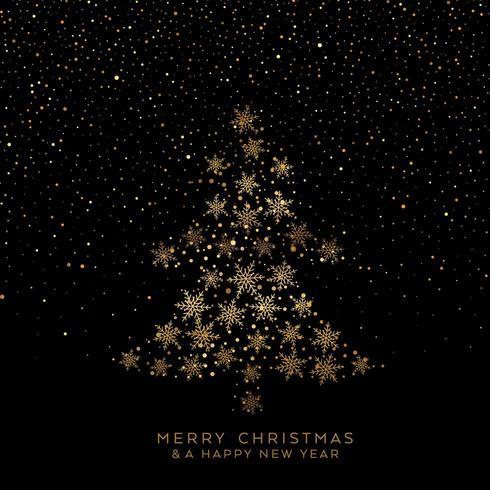 Árvore de Natal dourada de flocos de neve vetor