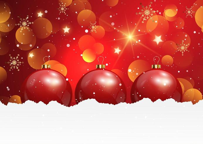 Christmas background with baubles in snow