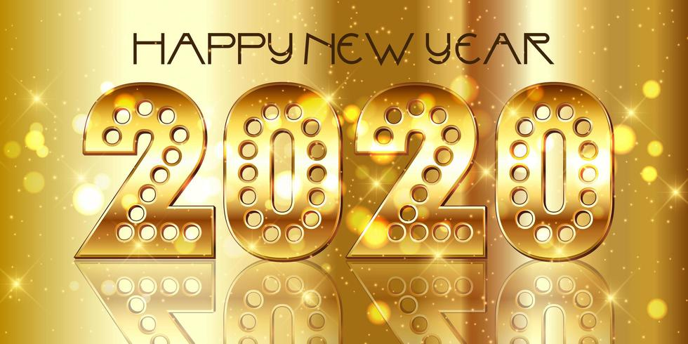 Happy New Year background with decorative gold numbers vector