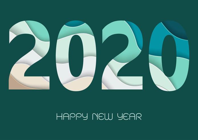 Felice nuovo anno 2020 con numeri di arte di carta nei colori verde e blu