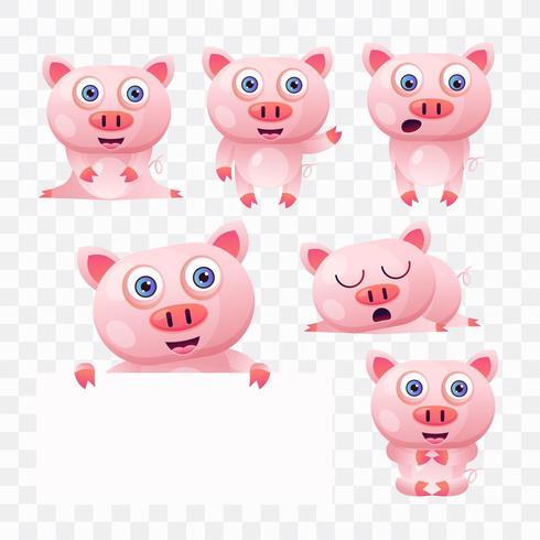 Cartoon varken met verschillende poses en uitdrukkingen. vector
