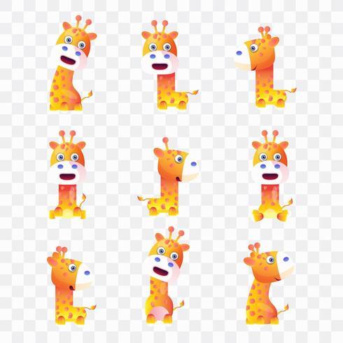 Tecknad giraff med olika poser och uttryck. vektor
