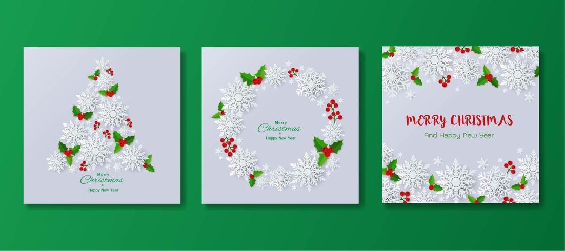 Set di felice anno nuovo e auguri di Natale fiocchi di neve o sfondo vettore
