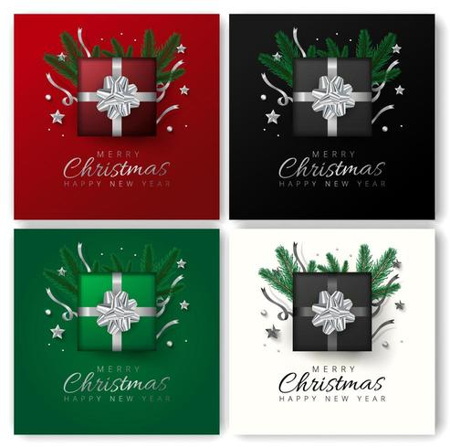 Merry christmas and Happy New Year greeting card set vector