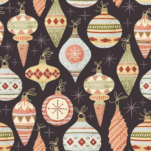 Pattern with Christmas balls vector