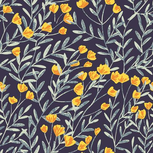 Field Foral Seamless Pattern-06 vector