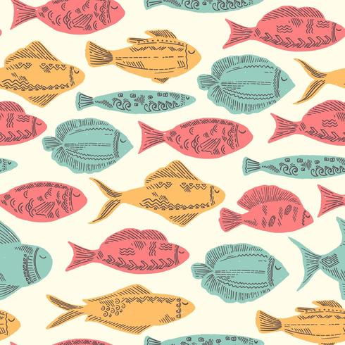 Lustiger Gekritzel-Fisch vektor