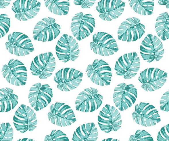 Monstera blue Pattern vector