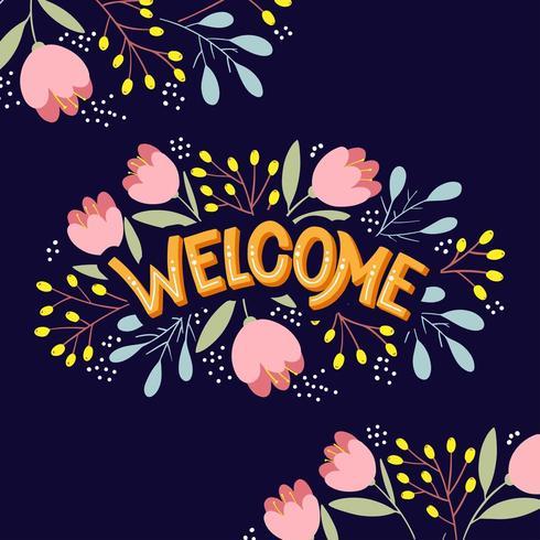 Letras de bienvenida con flores brillantes vector