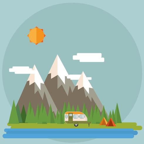 Isola dei cartoni animati con camper