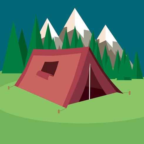 Cartoon Tent with Mountains