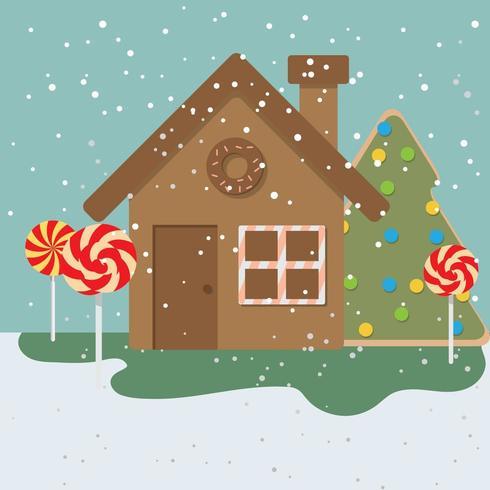 Cartoon Snowy Village House
