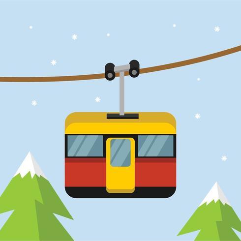 Ski Gondola in Sky