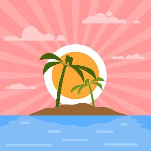 Sunset Over An Island