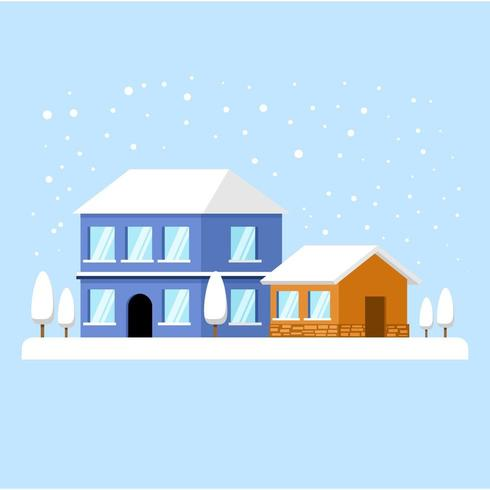 A Snowy Day with Houses