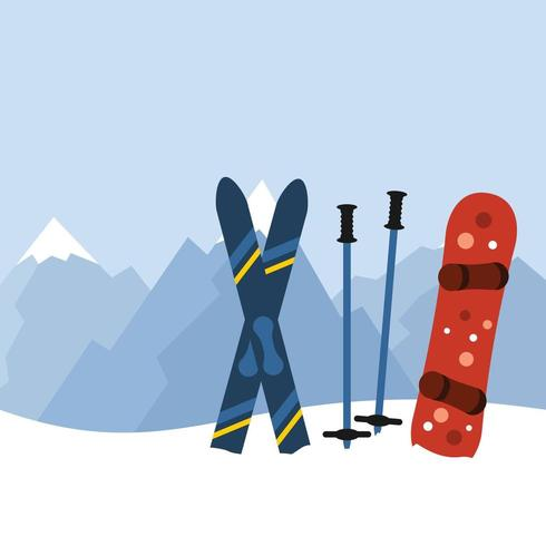 Skiing and Snowboarding Equipment In Mountains