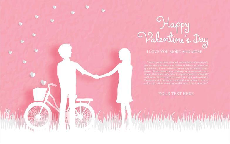 Valentijnsdag kaart met schattige paar
