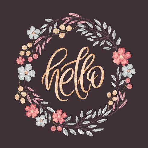 Hola letras en marco floral vector
