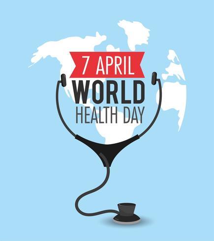 diagnóstico de estetoscopio para el día mundial de la salud vector