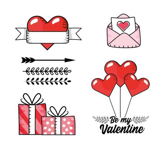 Establecer tarjeta de amor con regalos regalos y corazones globos vector