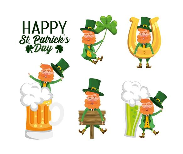 set st patrick man with beer glass and horseshoe vector