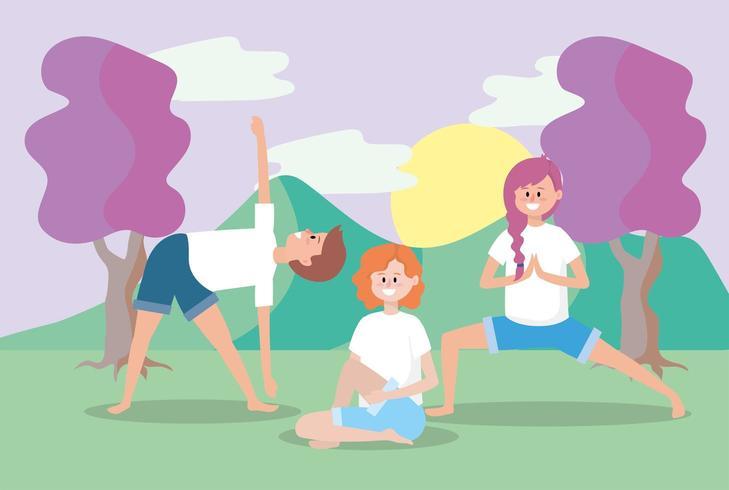 uomo e donna allenano l'equilibrio yoga