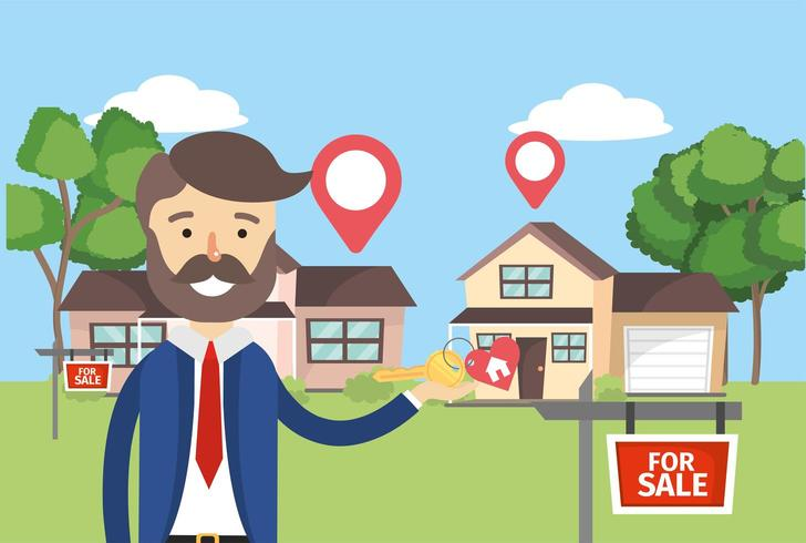businessman with houses sale property and location vector
