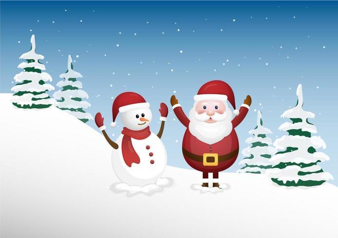 Felice Babbo Natale e un simpatico pupazzo di neve nella foresta invernale