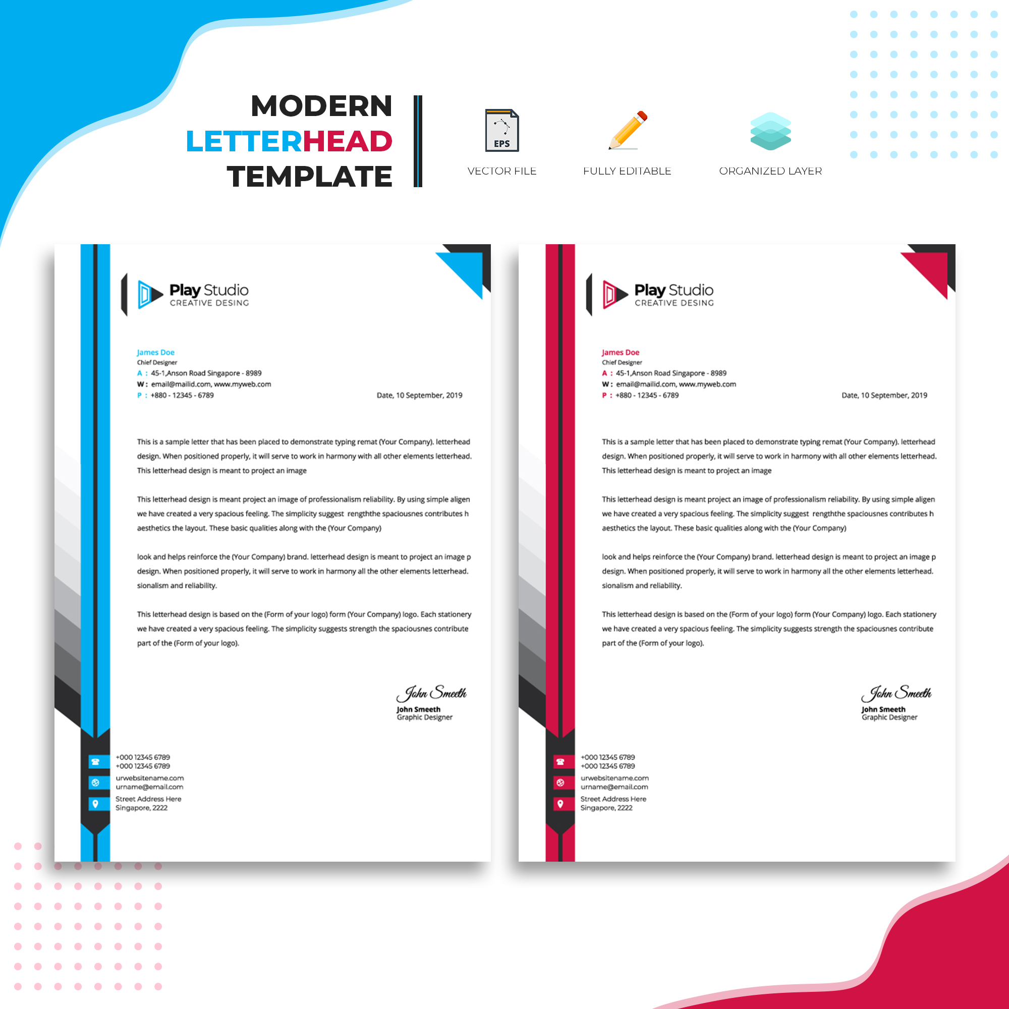 Modern Letterhead Template Design Download Free Vectors Clipart Graphics Vector Art,Memphis Interior Design