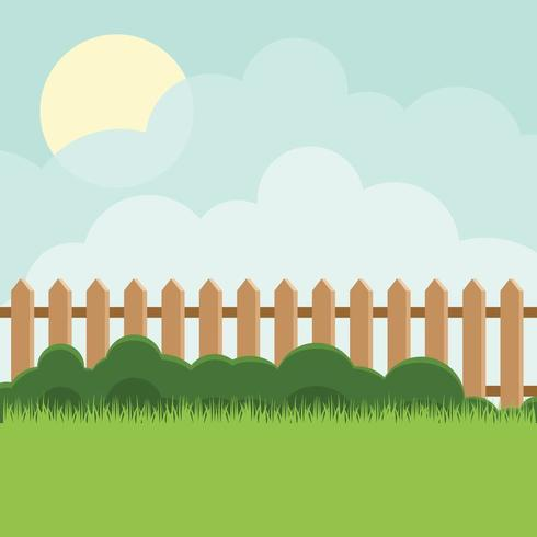 Cartoon fence with sunrise over clouds