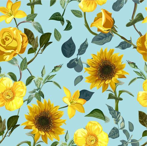 Sömlös gul blomma mönster
