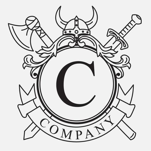 Diseño de escudo de armas vikingo vector