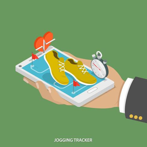 Jogging tracker flat isometric concept vector