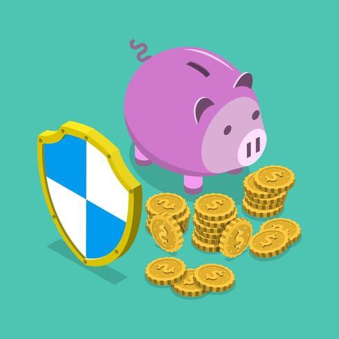 Ahorro financiero seguro isométrico vector