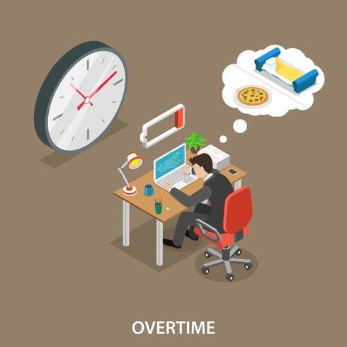 Overtime isometric flat vector