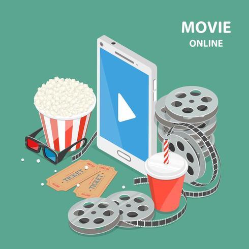 Filme online plano isométrico baixo poli vetor