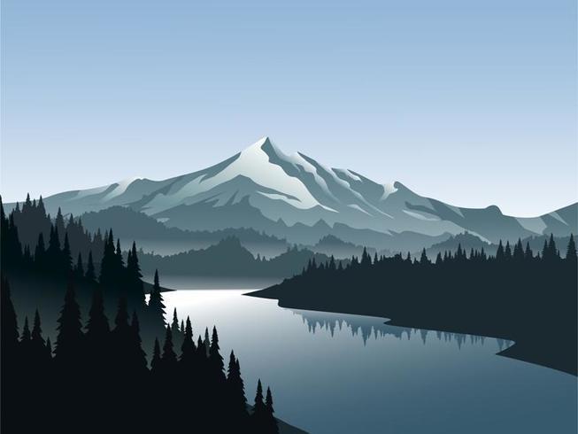 Hermoso vector paisaje de montaña con río