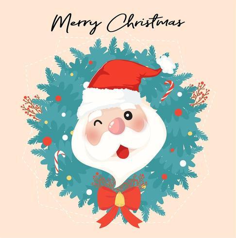 Happy Santa clause in Christmas wreath