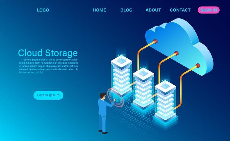 Tecnología de almacenamiento en la nube y concepto de red vector
