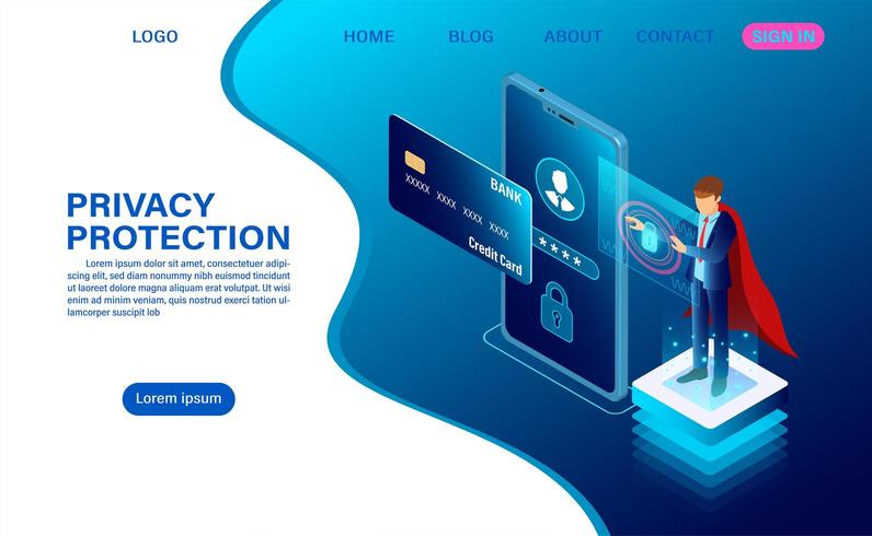 Privacy protection and security landing page  vector