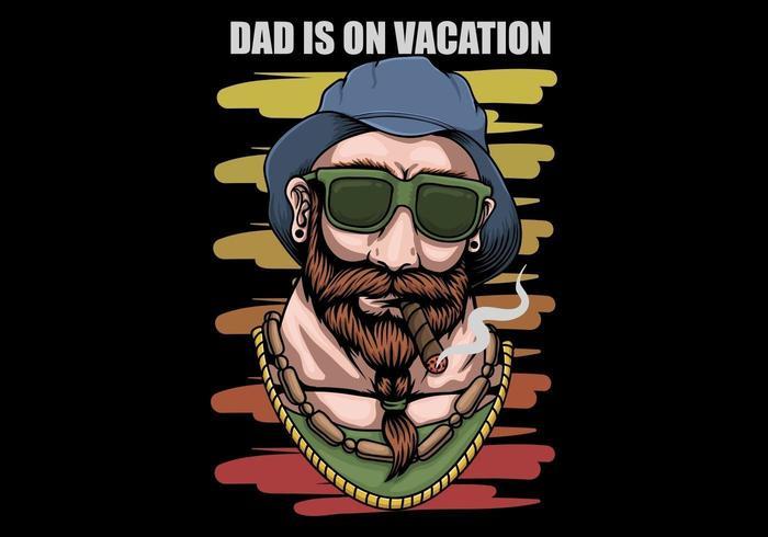 Father vacation retro design vector