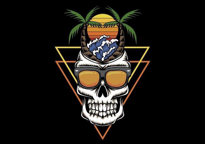 Skull vacation beach sunset retro  illustration vector