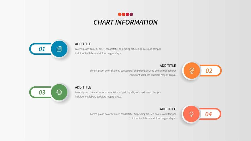 Fyrstegsprocessaffär infographic med kapselformer och affärssymboler vektor