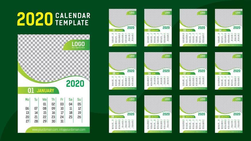 Plantilla Calendario Verde 2020 vector
