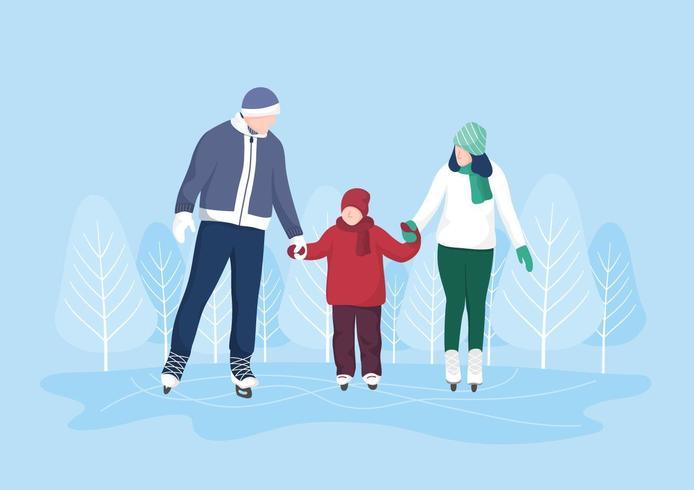 Familia patinando sobre hielo vector