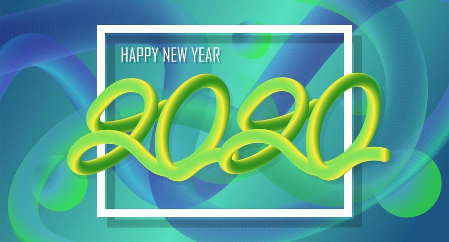 Feliz año nuevo 2020 Diseño colorido 3D Fondo líquido vector