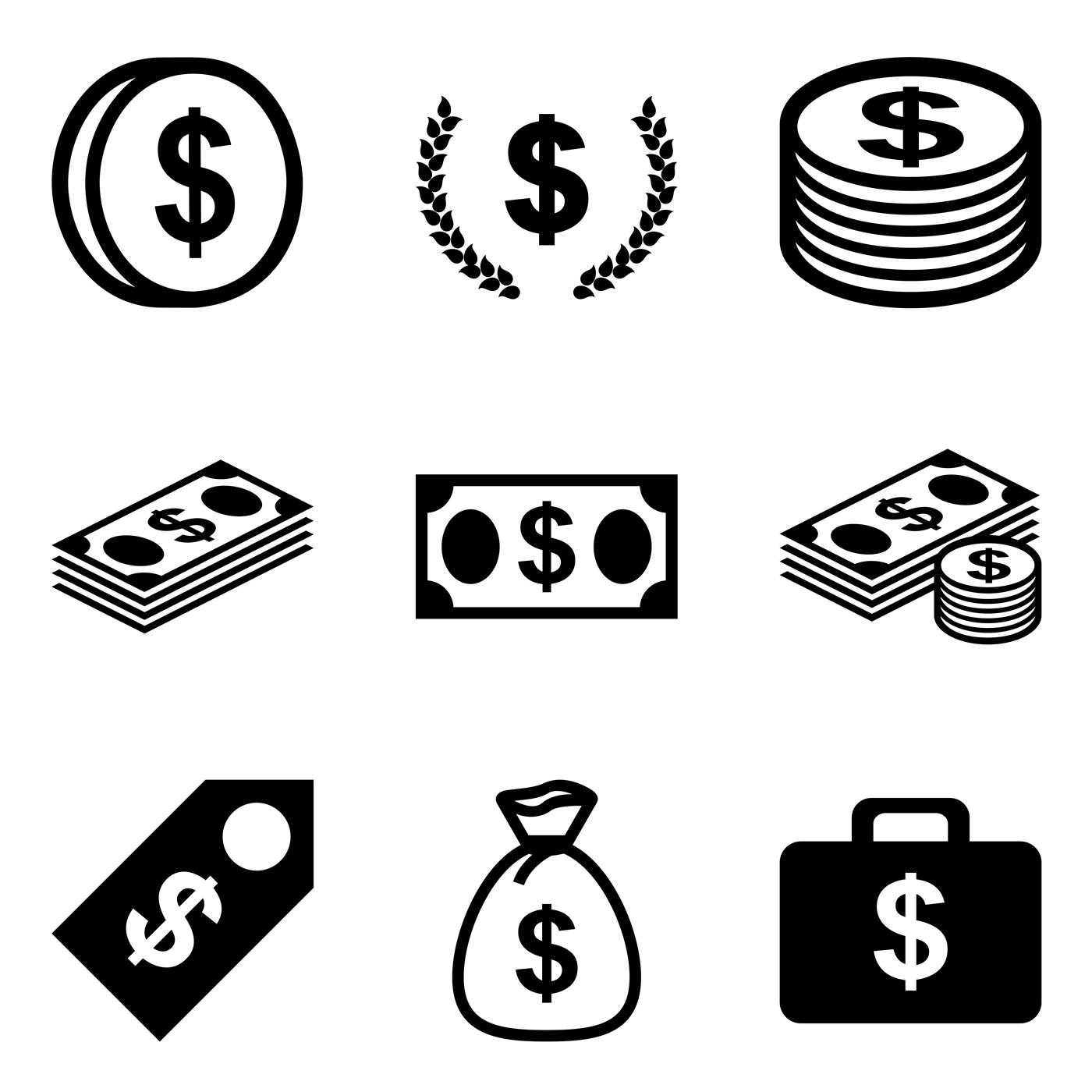 coins and bills clipart