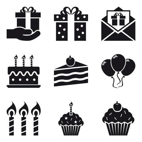 Jeu d'icônes de fête d'anniversaire