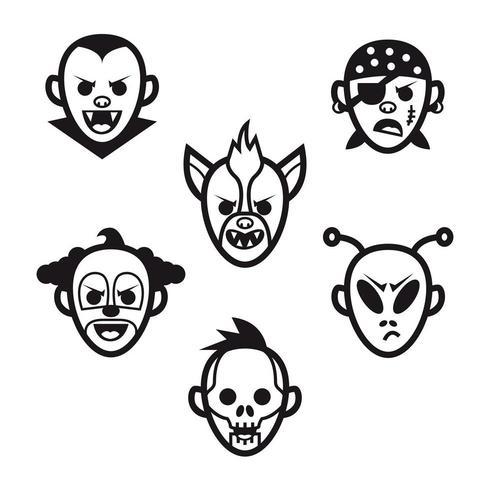 Set van iconen van monsters hoofden