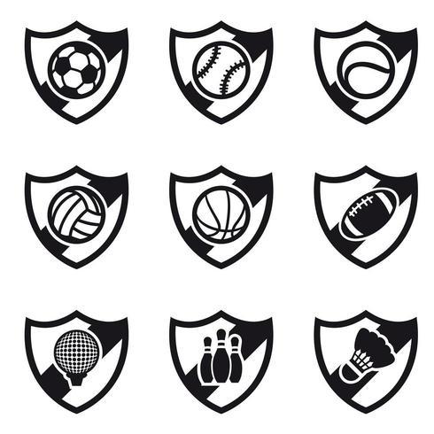 Olika Sport Shields Ikonuppsättning